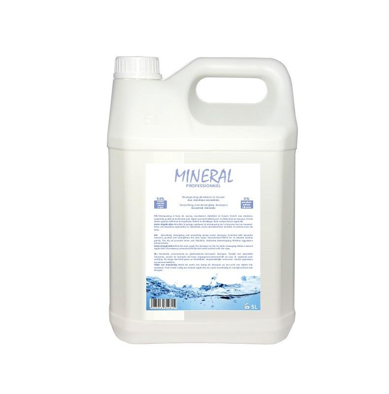 Mineral Shampooing 5l. Shampooing pour chien démêlant. Aux minéraux essentiels et huile sèche. Hyper concentré.