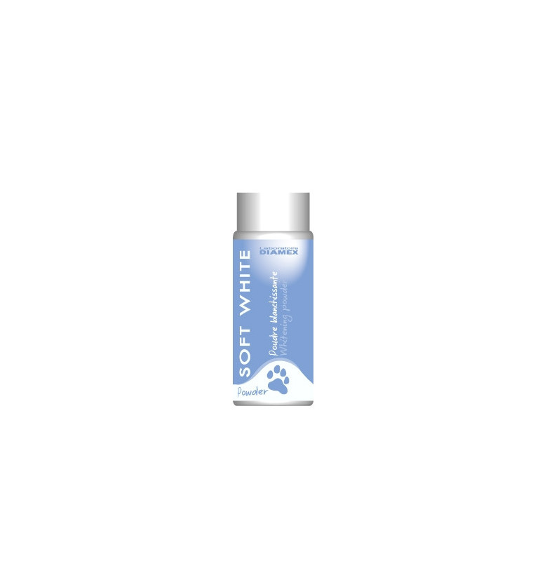 Diamex Soft White Powder 90gr. Soin des poils. Pouvoir absorbant. Ôter les graisses et salissures. Masque le jaunissement.