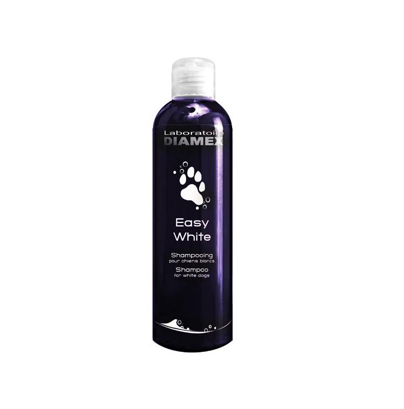 Diamex Shampooing Easy White 250 Ml. Shampooing pour chien. Pour chien blanc. Rend le poil soyeux et éclatant.