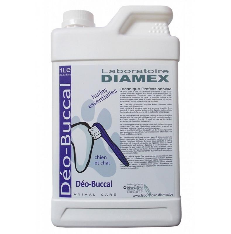 Diamex Deo Buccal 1l pour chien. Rafraîchit l'haleine et prévient le tartres et les gingivites