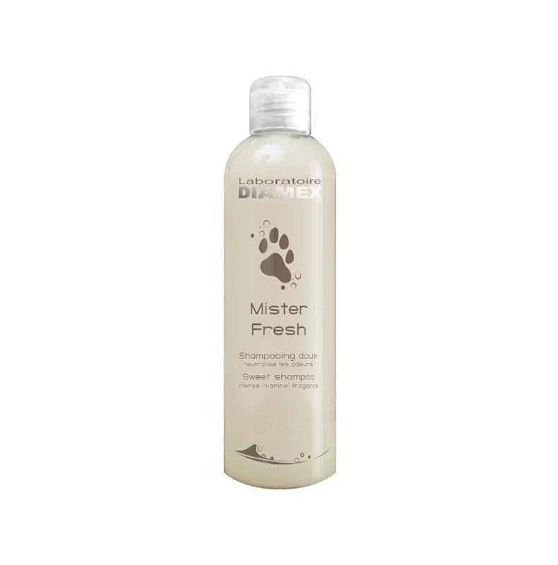 Diamex Shampooing Mister Fresh 250 ml. Shampooing pour chien. Neutralise les odeurs fortes. Shampooing parfum odeur Marine.